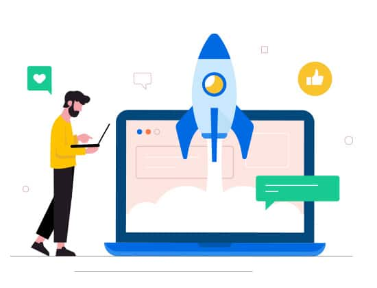 BeeLiked Illustration with rocket on a screen