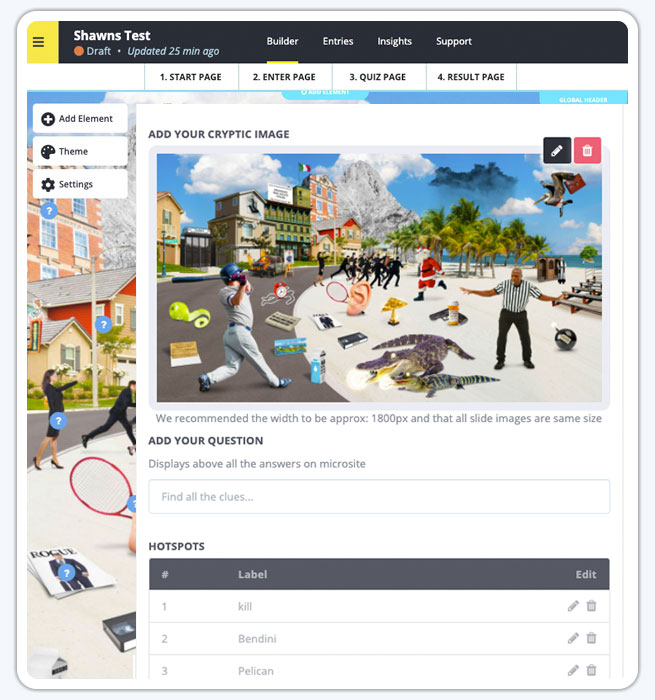 Cryptic Image Quiz Campaign Builder