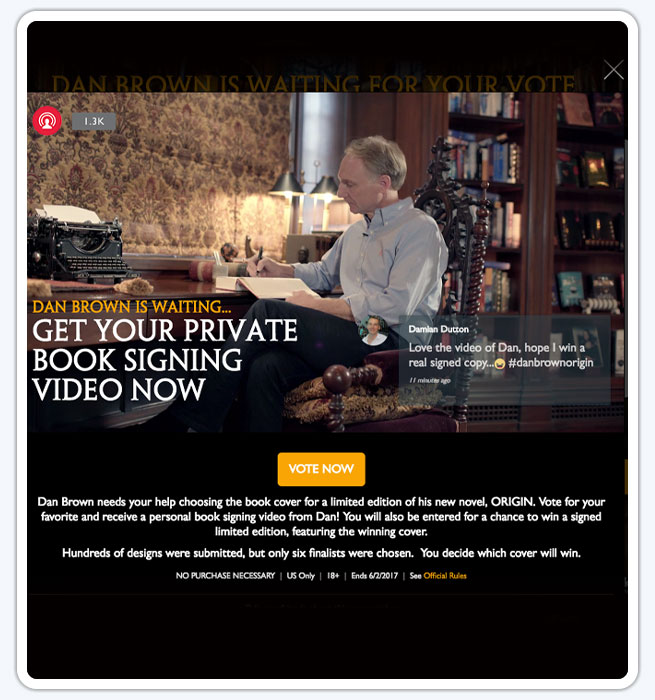 Dan Brown Origin Promotion with personalized book signing video