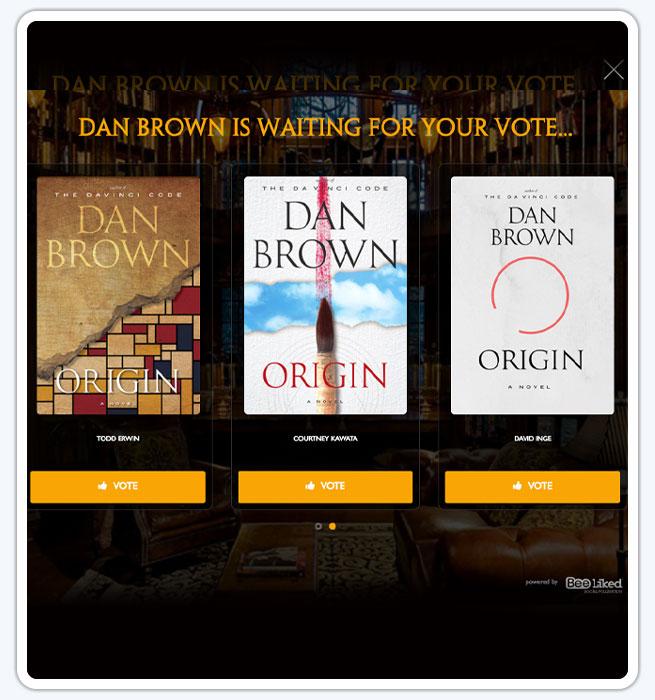 Dan Brown Origin Promotion to vote for book cover design