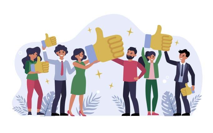BeeLiked Illustration showing thumbs up