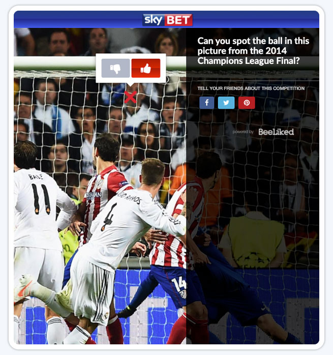 Spot the ball example from skybet