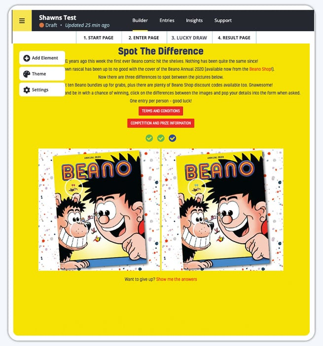 Spot the Difference Campaign builder