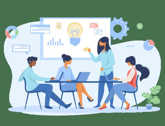 BeeLiked illustration of a meeting